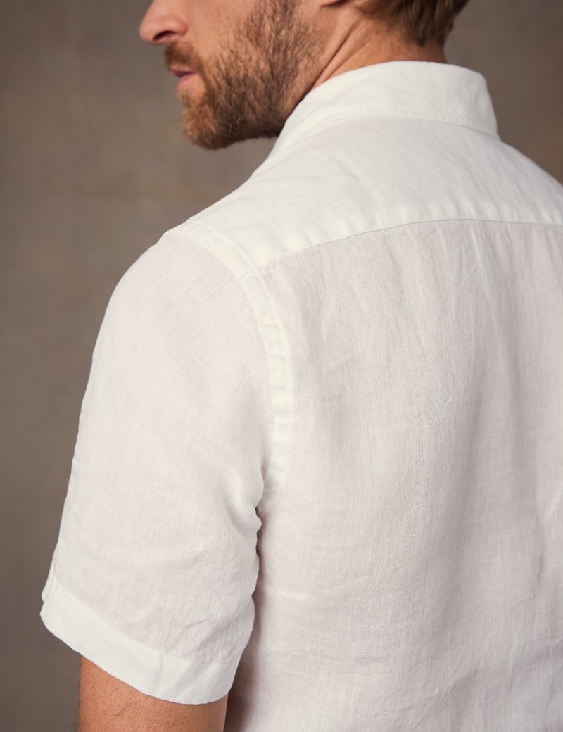 Men's Plain White Tailored Fit Short Sleeve Linen Shirt