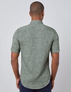 Leinenhemd – Kurzarm – Tailored Fit – grün