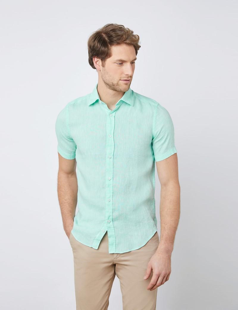 Men's Mint Green Tailored Fit Short Sleeve Linen Shirt