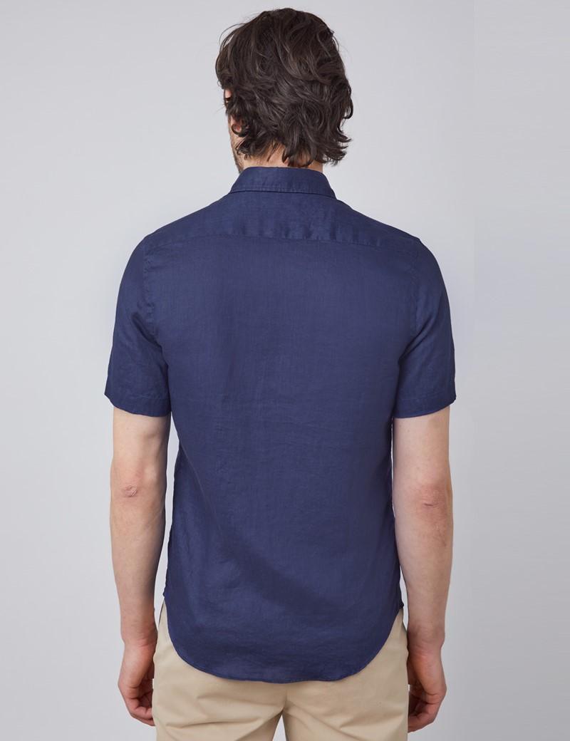 Men's Navy Tailored Fit Short Sleeve Linen Shirt