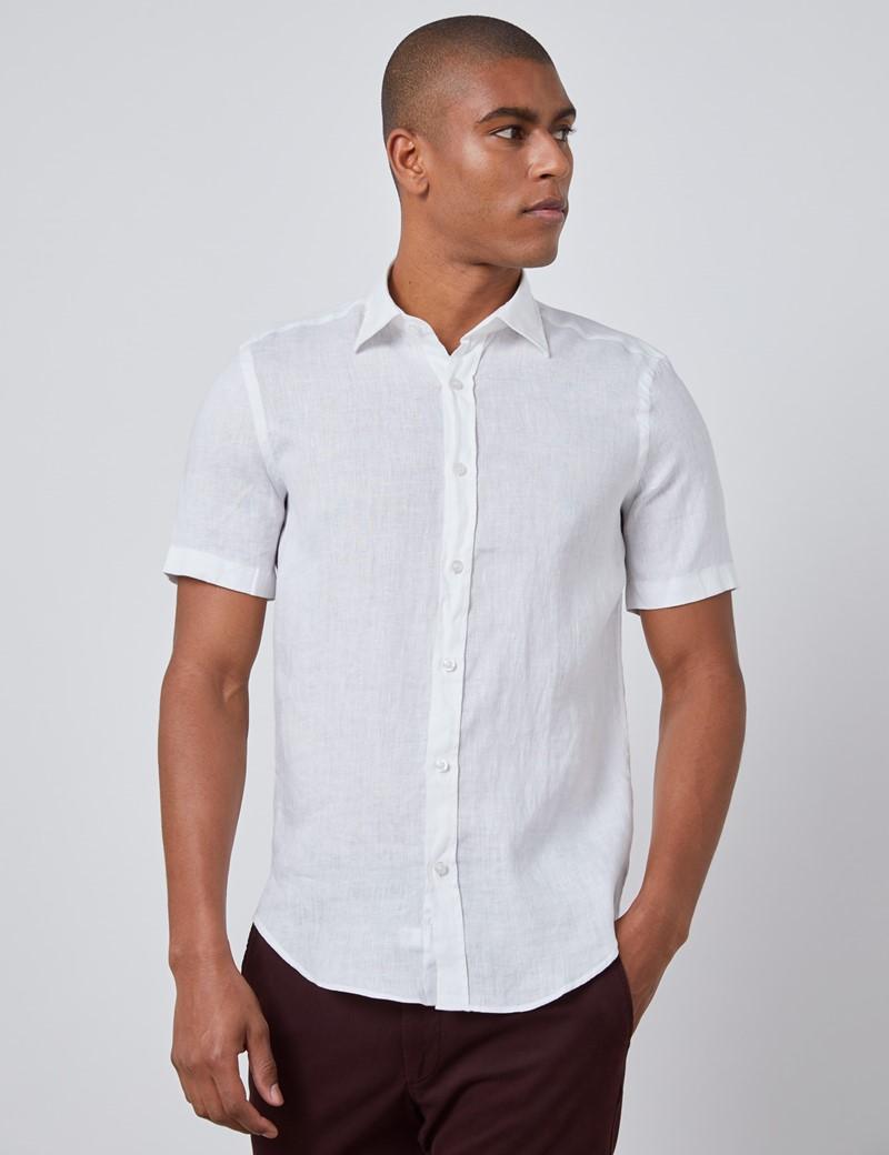 Men's White Tailored Fit Short Sleeve Linen Shirt