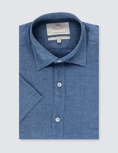 Men's Denim Blue Tailored Fit Short Sleeve Linen Shirt