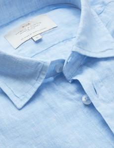 Men's Light Blue Linen Relaxed Slim Fit Short Sleeve Shirt