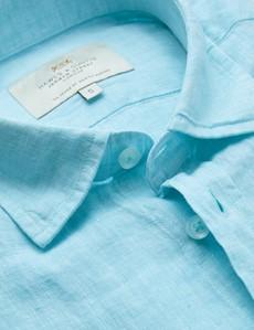 Men's Turquoise Linen Relaxed Slim Fit Short Sleeve Shirt