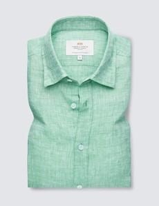 Men's Green Linen Relaxed Slim Fit Short Sleeve Shirt
