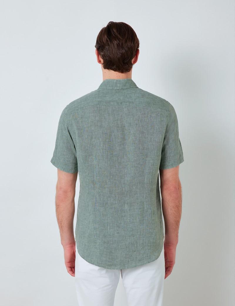 Men's Olive Linen Relaxed Slim Fit Short Sleeve Shirt
