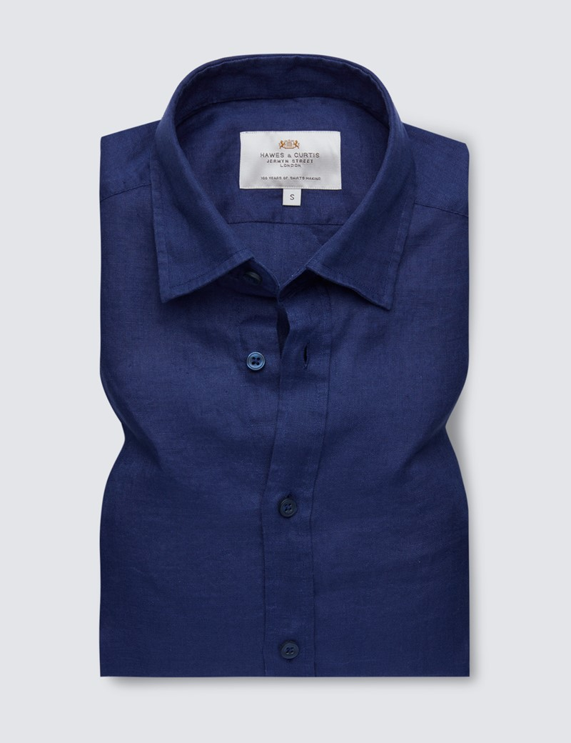 Men's Navy Linen Relaxed Slim Fit Short Sleeve Shirt