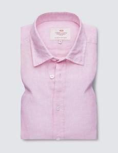 Men's Pink Linen Relaxed Slim Fit Short Sleeve Shirt