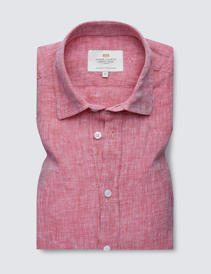 Men's Red Linen Relaxed Slim Fit Short Sleeve Shirt