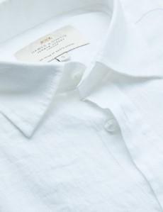 Men's White Linen Relaxed Slim Fit Short Sleeve Shirt
