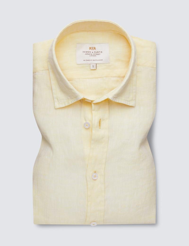 Men's Yellow Linen Relaxed Slim Fit Short Sleeve Shirt