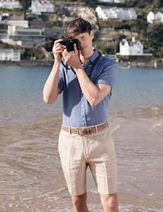 Men's Denim Linen Relaxed Slim Fit Short Sleeve Shirt