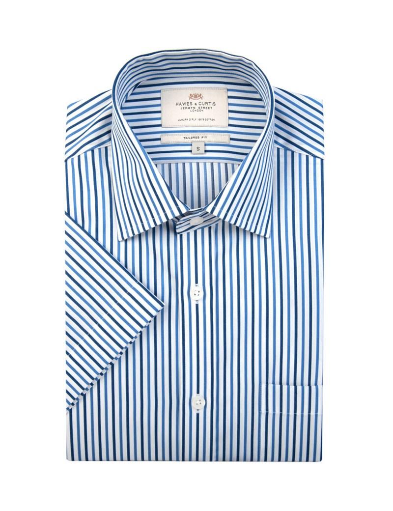 Men's White & Navy Multi Stripe Tailored Fit Short Sleeve Shirt - Easy Iron