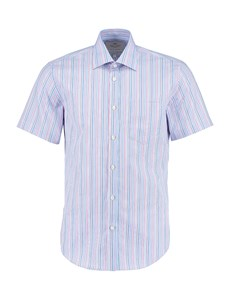 Men's Blue & Coral Multi Stripe Tailored Fit Short Sleeve Dress Shirt - Easy Iron