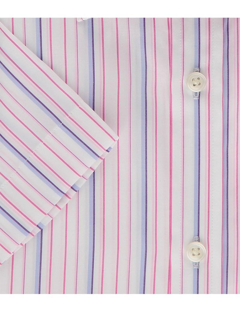 Herrenhemd – Tailored Fit – Kurzarm – Streifen rosa & blau