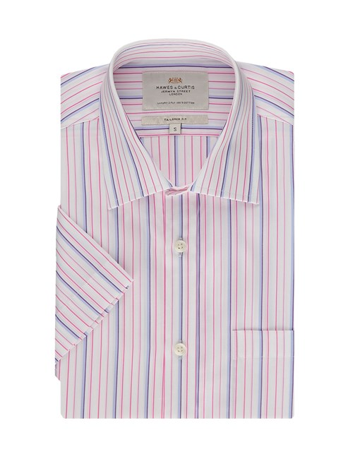 Men's  White & Pink Multi Stripe Tailored Fit Short Sleeve Business Shirt - Easy Iron