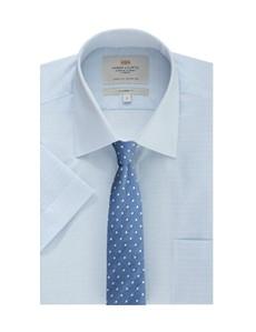 Men's Formal Blue & White Stripe Tailored Fit Short Sleeve Shirt - Easy Iron