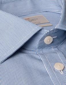 Men's  Blue & White Fine Stripe Tailored Fit Business Shirt - Short Sleeve