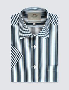 Men's Navy & Yellow Multi Stripe Tailored Fit Dress Shirt - Short Sleeve