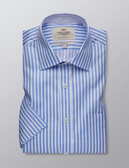 Men's Dress Blue & White Bengal Stripe Tailored Fit Shirt - Short Sleeve