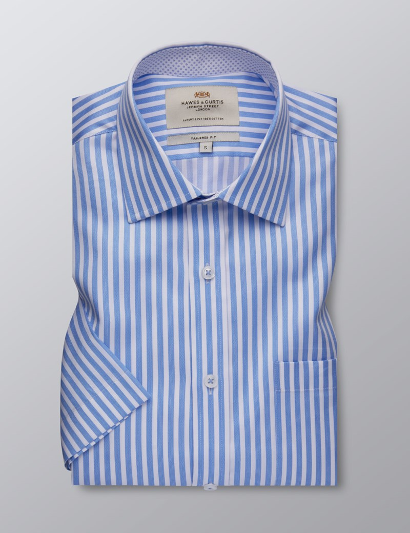 Men's Formal Blue & White Bengal Stripe Tailored Fit Shirt - Short Sleeve