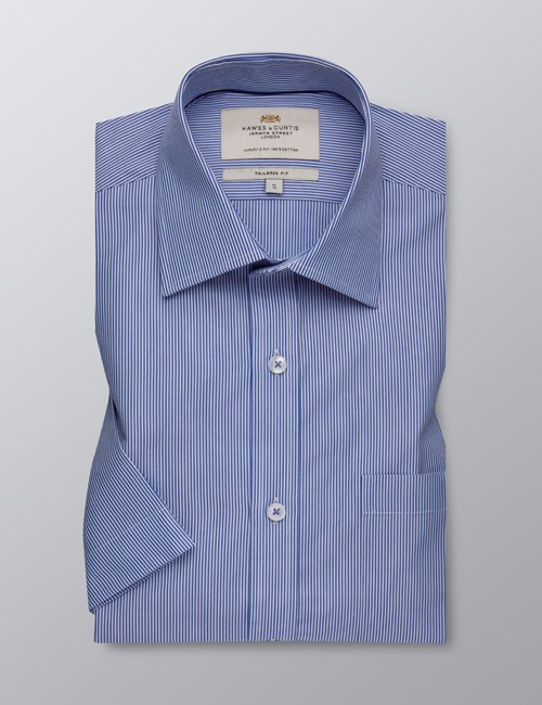 Men's Formal Blue & White Thin Stripe Tailored Fit Shirt - Short Sleeve