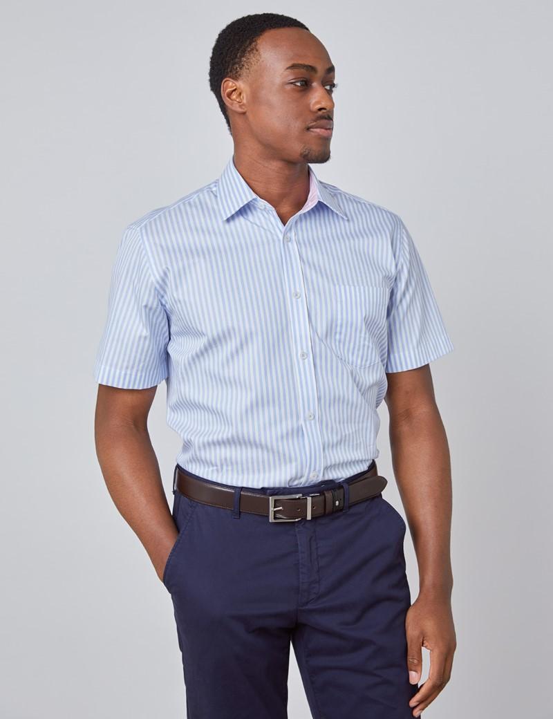 Kurzarm Hemd – Tailored Fit – hellblau-weiß Streifen