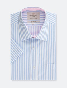 Men's White & Blue Tailored Fit Short Sleeve Shirt