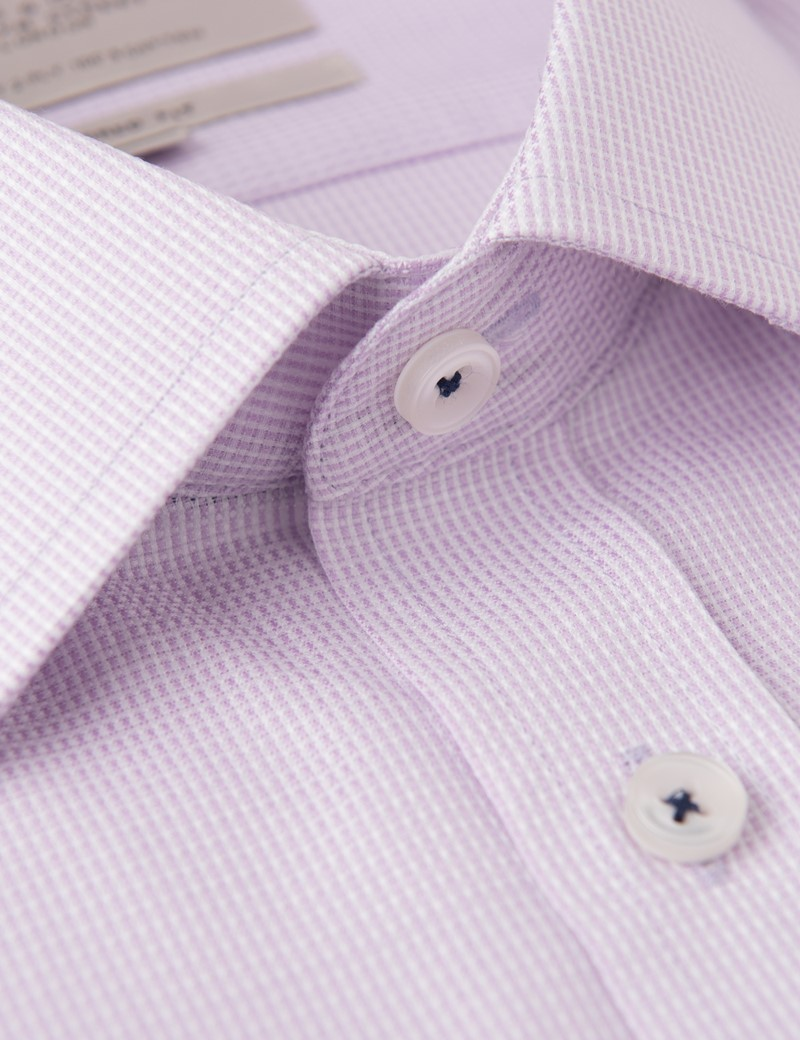 Men's White & Pink Fabric Interest Short Sleeve Shirt