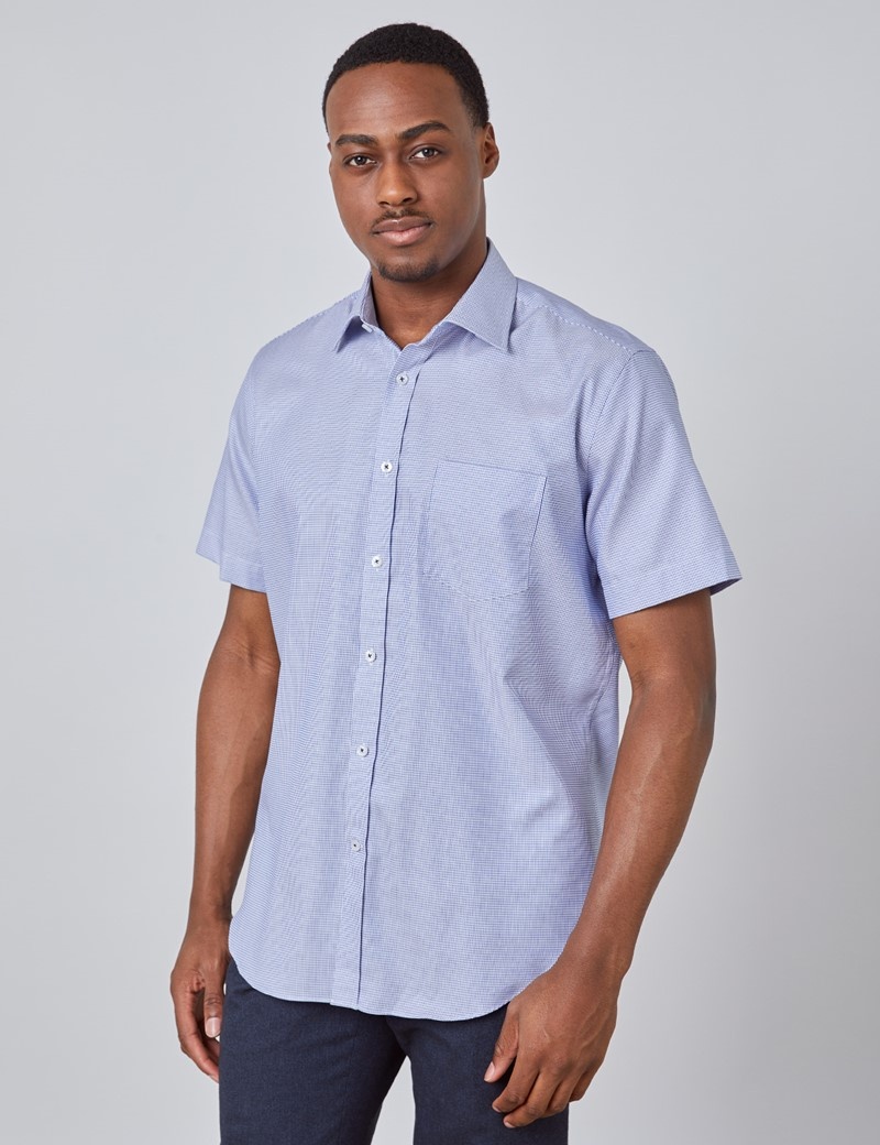 Men's Navy & White Fabric Interest Short Sleeve Shirt