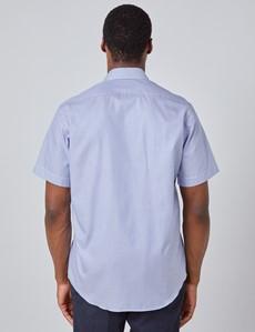 Men's Navy & White Fabric Interest Short Sleeve Shirt