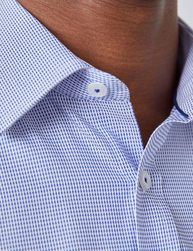 Kurzarm Hemd – Tailored Fit – weiß-blau Dobby