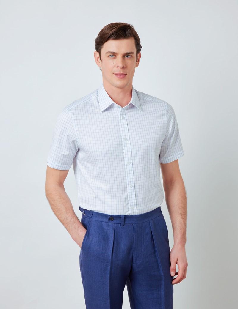 Bügelleichtes Kurzarm Hemd – Tailored Fit – blau-weiß Gitter-Karo