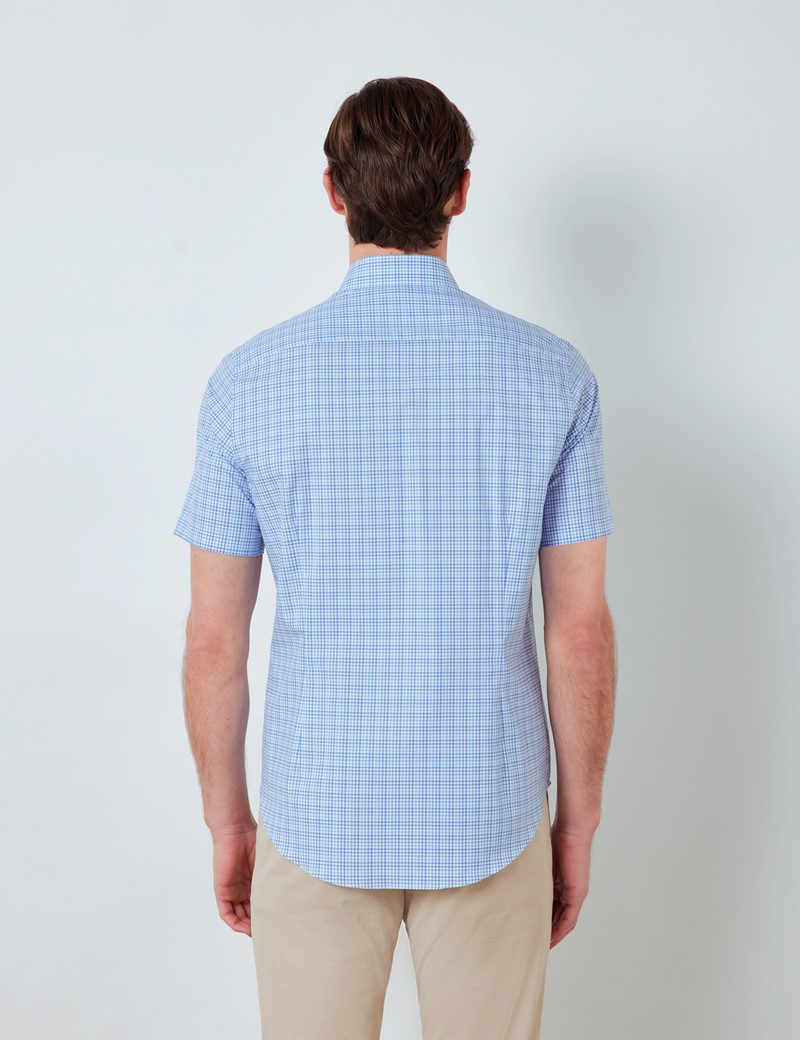 Easy Iron Blue & White Multi Check Relaxed Slim Fit Short Sleeve Shirt