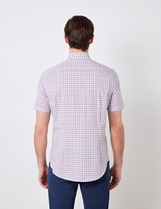 Easy Iron Red & Navy Multi Check Relaxed Slim Fit Short Sleeve Shirt