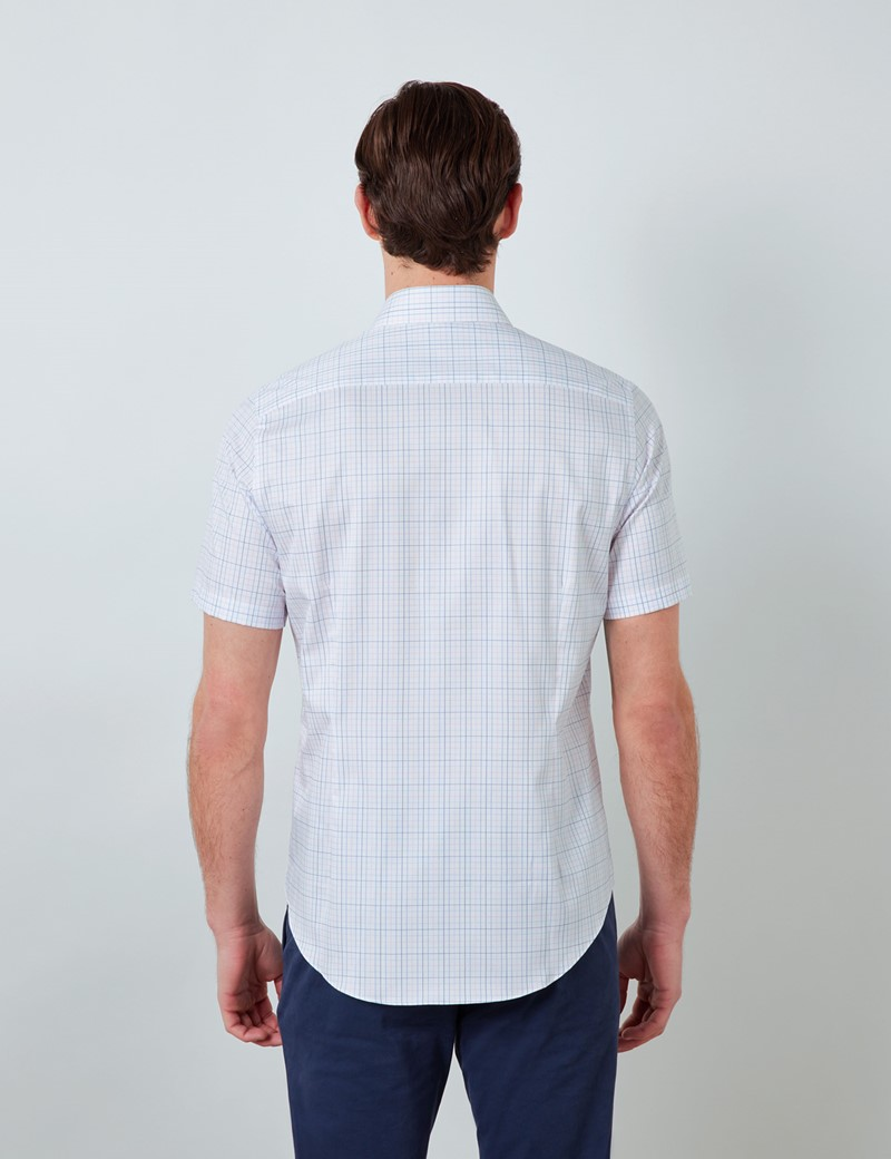 Easy Iron Pink & Blue Multi Check Relaxed Slim Fit Short Sleeve Shirt