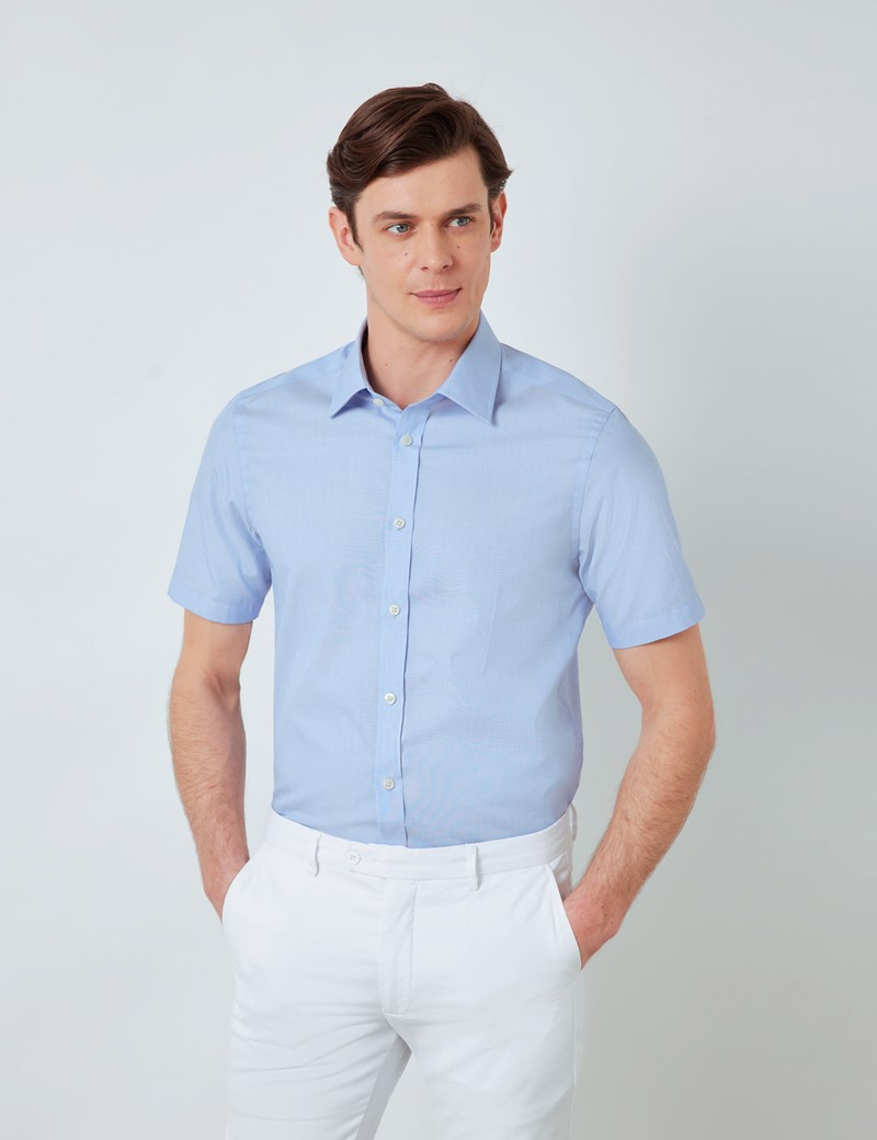 Easy Iron Blue End On End Relaxed Slim Fit Short Sleeve Shirt