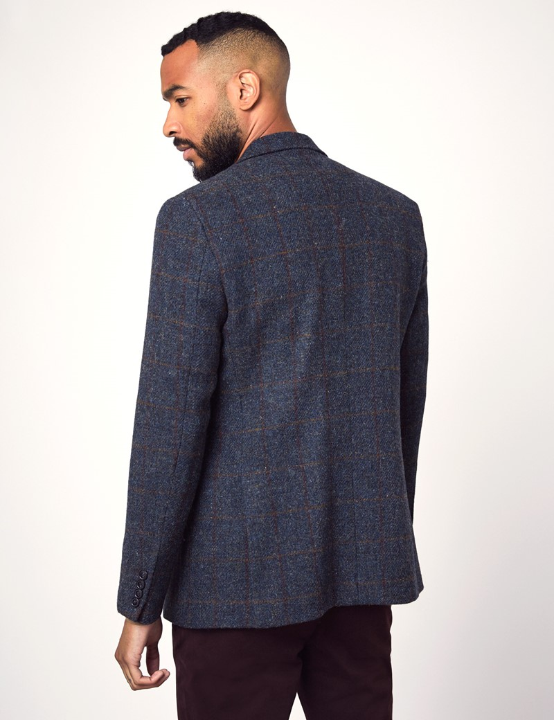 Men's Blue & Red Windowpane Check Harris Tweed Blazer - 100% Wool