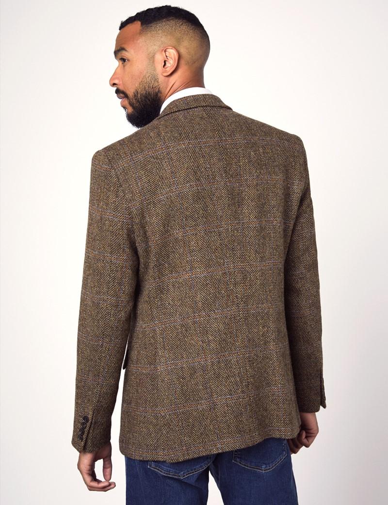 Men's Brown & Blue Herringbone Check Harris Tweed Blazer - 100% Wool