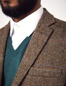 Tweed Sakko – Slim Fit – Schurwolle – Fischgrätmuster braun & blau