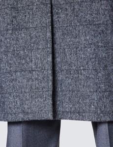Men's Grey Italian Wool Mix Check Coat - 1913 Collection