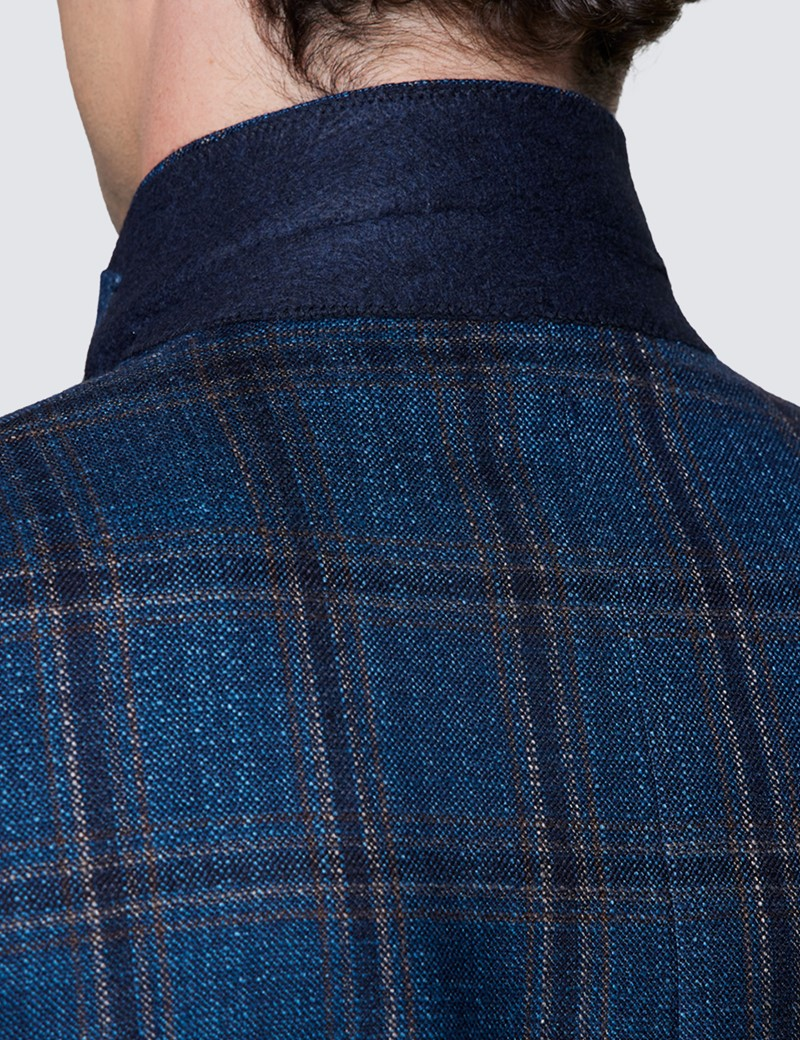 Men's Teal Check Italian Silk Wool Blend Jacket – 1913 Collection