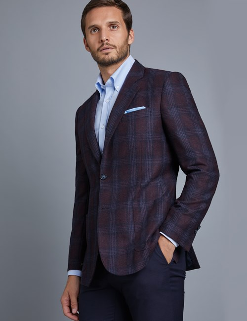 Men's Burgundy Check Wool Jacket - 1913 Collection