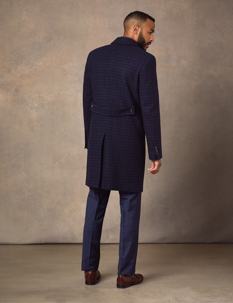 Men's Italian Blue Double Breasted Plaid Wool Coat – 1913 Collection