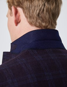 Men's Dark Purple Tonal Check Italian Wool Jacket – 1913 Collection