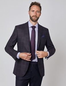 Men's Italian Blackberry Windowpane Check Wool Blazer – 1913 Collection