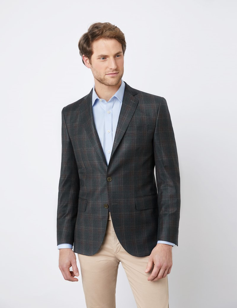 Men's Green Multi Check Italian Wool Jacket - 1913 Collection