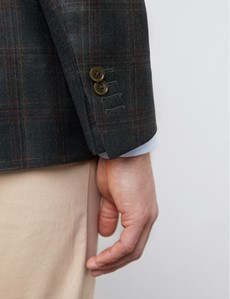 Sakko - Premium 1913 Kollektion - Schurwolle - Tailored Fit - Windowpane Karo Grün