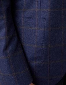 Men's Royal Blue Windowpane Italian Wool Jacket - 1913 Collection