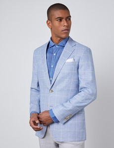 Men's Light Blue Check Linen Blend Slim Fit Jacket